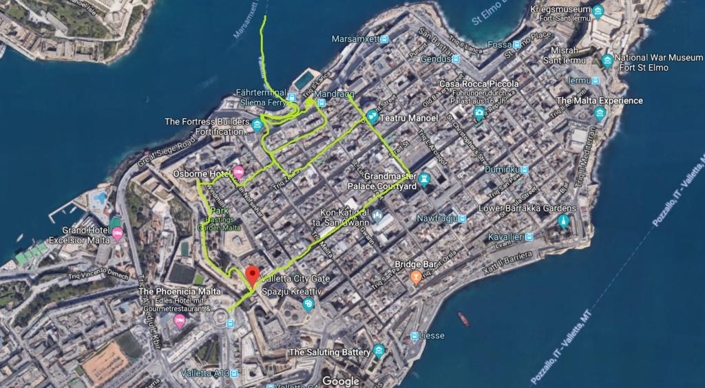 Google Maps Karte von Valetta. Die eingezeichnete grüne Linie zeigt wie wir an dem Tag durch Valetta, Malta gelaufen sind.